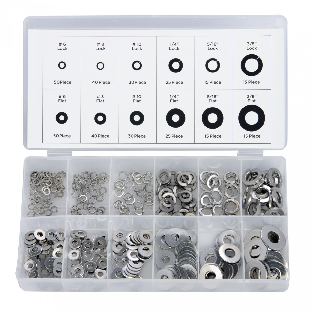 350PC WASHER ASSORTMENT - FLAT & LOCK STAINLESS STEEL