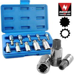 10pc XZN Triple Square Spline Bit socket Set