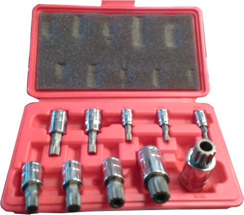 10PC 12 POINT BIT SOCKET SET