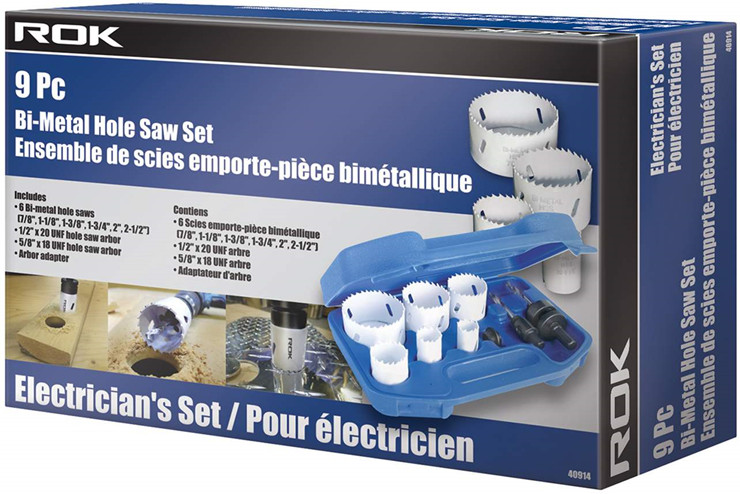 9 Pc Bi-Metal Hole Saw Set