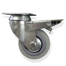 "3""x1""SWIVEL CASTER W/BRAKE-GRAY"