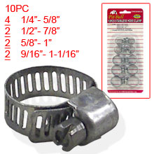 10PC STAINLESS HOSE CLAMP