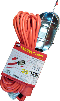 25FT UL TROUBLE LIGHT 75W/OUTLET
