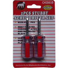 2PCS STUBBY,SCREW DRIVER,PHILLIP #1 & #2
